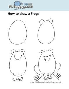 How to draw a frog. I need to save these types of things so I can impress the little ones by being able to draw simple yet good!