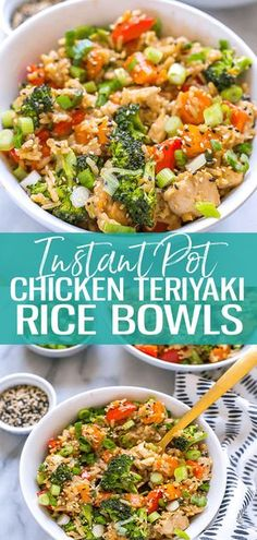 These Instant Pot Teriyaki Chicken Bowls with rice broccoli and a stir fry sauce make for a delicious meal prep idea just dump everything into one pot and dinner is ready in 30 minutes instantpot chickenteriyaki chickenrecipes chickenandrice Instant Pot Pressure Cooker, Pressure Cooker Recipes, Pressure Cooking, Chicken Meal Prep, Chicken Recipes, One Pot Chicken, Pizza Recipes, Freezer Recipes, Freezer Cooking