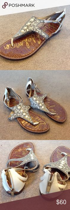 Cream & Silver Sam Edelman Sandals Zipper back. Worn only a couple of times. Sam Edelman Shoes Sandals