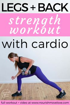 Challenging legs and back strength workout. Circuit workout that incorporates cardio exercises. Total body workout done in under 30 minutes. At home workout for busy women   busy moms. Lower body strength exercise   plyometric exercise   back strength exercise.Medium to heavy set of dumbbells. Calf, squat, jump, lunge, row, windmill. | www.nourishmovelove.com