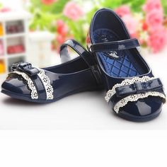 Navy Blue Patent Leather Mary Jane Flower Pageant Girl Girls Party Shoes SKU-133189