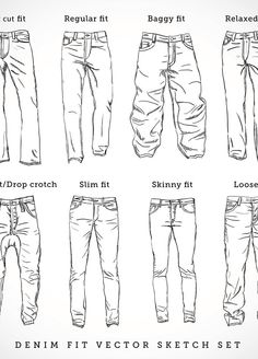 Denim fit vector sketch set by createvil, via Shutterstock Jeans Drawing, Drawing Clothes, Jacket Drawing, Poses References, Drawing Reference Poses, Hand Reference, Reference Images, Drawing Techniques, Drawing Tips