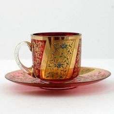 Moser Cup and Saucer Cranberry and Gold Gilt Enameled Bohemian Art Glass Cup And Saucer Set, Tea Cup Saucer, Teapots And Cups, Teacups, Cranberry Glass, Bohemian Art, Stained Glass Designs, China Tea Cups, Tea Service