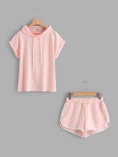 To find out about the Roll Up Sleeve Hoodie And Contrast Trim Shorts at SHEIN, part of our latest Two-piece Outfits ready to shop online today! Cute Pajama Sets, Cute Pjs, Cute Pajamas, Cute Comfy Outfits, Cute Summer Outfits, Cool Outfits, Teen Fashion Outfits, Outfits For Teens, Cute Sleepwear