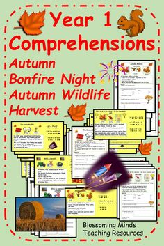 A collection of 16 short comprehension activities for year 1 on the theme of autumn. This pack contains comprehensions on autumn, autumn wildlife, harvest and Bonfire Night. #autumncomprehensions #year1comprehensions #harvestfestival #autumn #bonfirenight #fireworksnight #thegunpowderplot #ks1 #blossomingmindsteach