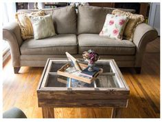 This blogger created a gorgeous coffee table complete with storage space by using an old window as a tabletop. Leave the wood raw to add a homey, rustic touch to your space. Get the tutorial at Marty's Musings.
