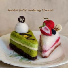 Needle felted cake Green tea chocolate & Mixed by FunFeltByWinnie, $30.00