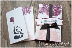 Karte + Verpackung mit den Stempelsets #partypandas und Blumen von Herzen von #stampinup, mehr dazu auf meinem Blog https://kidesos-stempelwelt.de/2018/01/01/stampinfirst-bloghop-3-2-2/