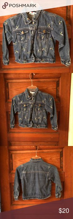 Little girls jean jacket with rose buds Super cute Jean jacket has cute little pink rose buds all over the front I bought it for my daughter and she put it on and said nope! NWOT young hearts Jackets & Coats Jean Jackets