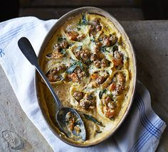 Baked conchiglioni with sausage, sage & butternut squash. Substitute with  vegetarian mince, quorn or tofu mince or sausages to make it veggie