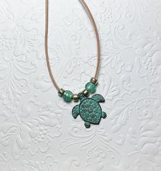 Leather Cord Turtle Necklace by CharmingLadybug on Etsy Ladybug Jewelry, Christmas Tree Earrings, Turtle Necklace, Earring Tree, Leather Cord, Glass Beads, Pendant Necklace, Unique Jewelry, Handmade Gifts