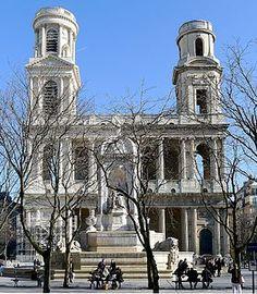 Église Saint-Sulpice située Place Saint-Sulpice, traversée par la rue Bonaparte  Paris  6e. Elle est dédiée à Sulpice le Pieux, archevêque de Bourges au VIIe siècle. Paris