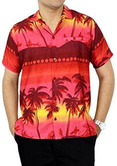 41ad5fb0e La Leela Hawaiian Shirt For Men Short Sleeve Front-Pocket Beach Palm Trees  Hawaiian Print