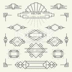 Art Deco Style Line and Geometric Labels and Badges Monochrome royalty-free stock vector art