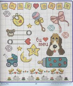 Cross Stitch Bookmarks, Mini Cross Stitch, Baby Cross Stitch Patterns, Cross Stitch Designs, Cross Stitching, Cross Stitch Embroidery, Crochet Unicorn Blanket, Baby Motiv, Fuse Beads