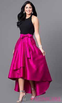Two Tone High Low Halter Prom Dress