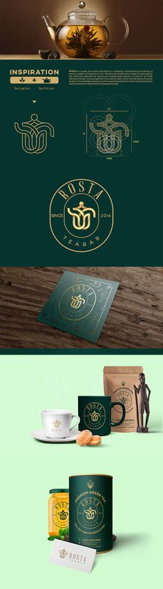 Tea Branding And Packaging 46 Innovative And Delightful Designs Rosta Teabar Identity Brand Identity Design, Corporate Design, Branding Design, Corporate Identity, Brochure Design, Visual Identity, Branding And Packaging, Logo Branding, Innovative Packaging