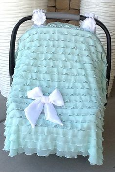 Please PIN! Ruffle Infant Carseat Cover/Canopy by #NavySo