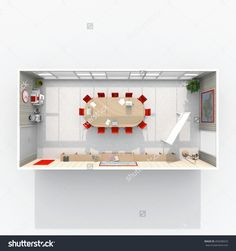 3d interior rendering plan view of furnished meeting room