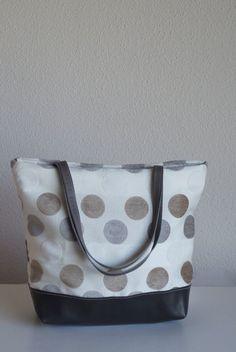 Silver Grey Leather Tote Bag  Polka Dot Tapestry by dawnaparis, €55.00