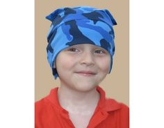 Boy beanie jersey hat cotton fabric with light and by Lupeworks, $18.00