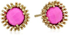 """Kendra Scott """"Signature"""" Carly Gold Magenta Color Stud Earrings. Stud earring featuring colorful, faceted centerpiece framed in halo of protruding gold-plated prongs. Bullet-clutch-with-disc backing. Items that are handmade may vary in size, shape, and color. Imported."""