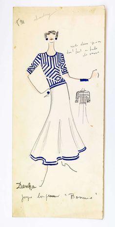 Original Karl Lagerfeld Fashion Drawings, Circa 1965