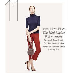 Silhouette:  Ann Taylor Elbow Sleeve Turtleneck, Refined Kick Crop Flare, Suede Mini Bucket Bag     Early Fall 2016