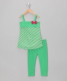 Green Stripe Tunic & Leggings - Infant, Toddler & Girls