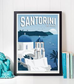 Vintage Travel Poster Santorini, Travel, Decoration, Wall Art, Printable Poster…