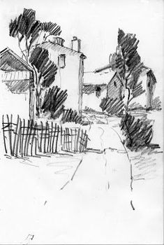 Album Archive - Sketches from California 2011 Landscape Pencil Drawings, Landscape Sketch, Pencil Art Drawings, Landscape Paintings, Charcoal Art, Art Drawings Sketches Simple, Abstract Sketches, Arte Sketchbook, A Level Art