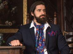 4e8fa157343b Striking Day Cravat in Beetles pattern on fine silk twill. By Designer  Becca Who.