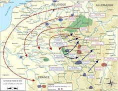 1914 1918 - Manœuvres prévues par l'état-major allemand (plan Schlieffen, dans sa version de 1905) et français (plan XVII, datant de 1911).