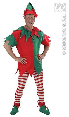 Santas Elf Helper Costume  Keep things running smooth for Santa at the North Pole when you step into this Elf Costume. Spreading Christmas cheer, working hard making toys for all of the good boys and girls. Be on your best behaviour you never know when an Elf will drop by.