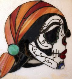 Stained Glass Day of the Dead Sugar Skull by ChaosTheoryGlassWork, $65.00.