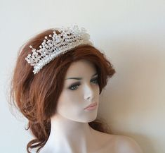 Bridal Tiara Wedding Tiaras Headpiece Bridal Hair Piece Crown Crystal Tiara Hair Wreaths Hair A Bridal Tiara, Bridal Crown, Headpiece Wedding, Bridal Headpieces, Wedding Tiaras, Wedding Veils, Wedding Dress, Tiara Hairstyles, Bride Hair Accessories