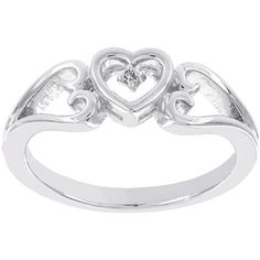 Lumastar Diamond-Accent Sterling Silver Heart Promise Ring ($80) ❤ liked on Polyvore featuring jewelry, rings, heart shaped rings, sterling silver heart jewelry, sterling silver heart ring, heart shaped jewelry and heart jewelry