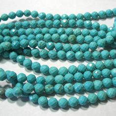 """Blue Turquoise 6mm Sparkling Faceted Round Beads 15"""" Spacer Accent #TemporaryStrand"""