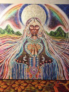 Stretched canvas print hand painted over Grandmother Kauai pacha mama spirit