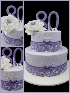 lavender 80th birthday cake inspired by michelle cake designs