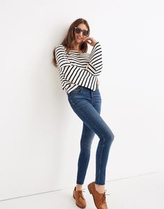 Madewell Petite 9 Mid-Rise Skinny Jeans in Paloma Wash: Raw-Hem Edition Jeans Skinny, Mid Rise Skinny Jeans, Women's Jeans, Ankle Jeans, Jeans Size, Madewell, Petite Pants, Petite Outfits, Tall Girl Outfits