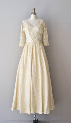 Varsovienne dress vintage 1940s wedding gown cream by DearGolden