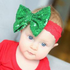 Join in the season of sparkle and surprise with our 5 inch sequin bow headband! This was our number one seller last holiday season! Sequin bow is attached to a red lace headband. She fits baby to todd