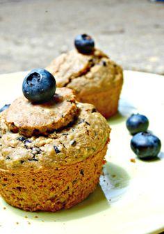Blueberry Hemp Muffins - Gluten Free, Vegan, Sugar Free, Soy Free, Nut Free, Oil Free, Butter Free
