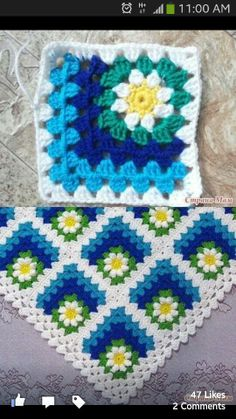 Nice idea for baby blanket.. But in pink for a girl