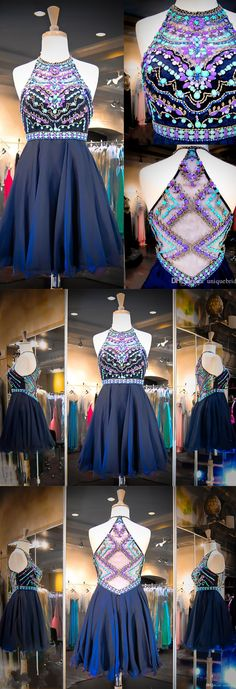 Royal Blue Prom Dress,Halter Homecoming Dress,A Line Homecoming Dress, Knee…