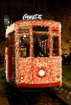 Bus with Christmas lights in Milan, Italy