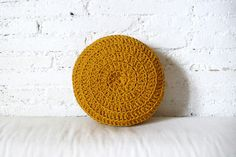 Round Pillow Crochet mustard by lacasadecoto on Etsy