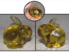 Your place to buy and sell all things handmade Glass Figurines, Fenton Glass, Bright Yellow, Bunny Rabbit, Paper Weights, Clear Glass, Vintage Items, Etsy