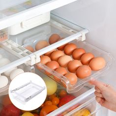 Kitchen Fruit Egg Organizer Storage Rack Box Fridge Freezer Shelf Holder Pull out Drawer Space Saver|Racks & Holders| - AliExpress Egg Storage, Food Storage Boxes, Storage Rack, Storage Containers, Fridge Drawers, Refrigerator Storage, Freezer Organization, Kitchen Organization, Kitchen Storage
